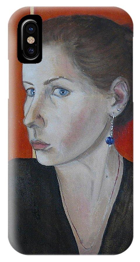 Portrait IPhone X / XS Case featuring the painting Self - Portrait by Sandra Gotautaite