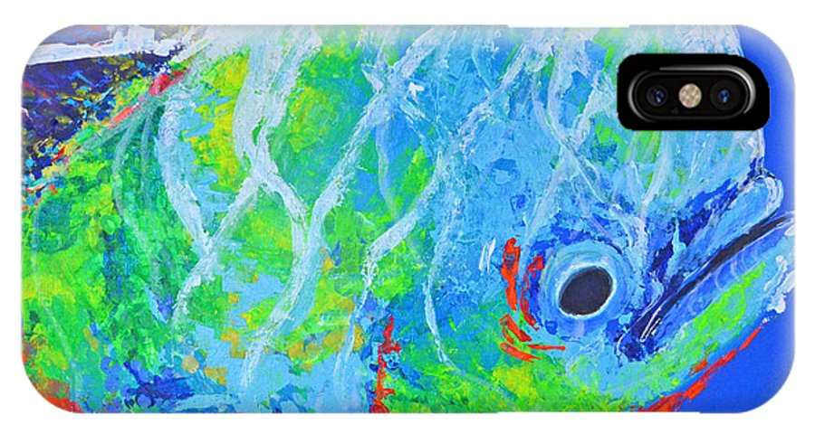 Under Water IPhone X Case featuring the painting semi abstract Mahi mahi by Paola Correa de Albury