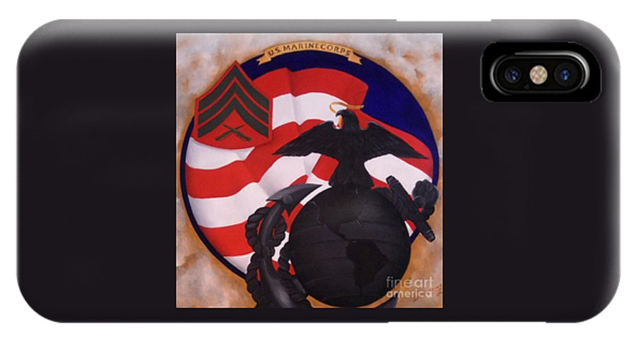 Military Paintings IPhone X Case featuring the painting Semper Fidelis by D L Gerring