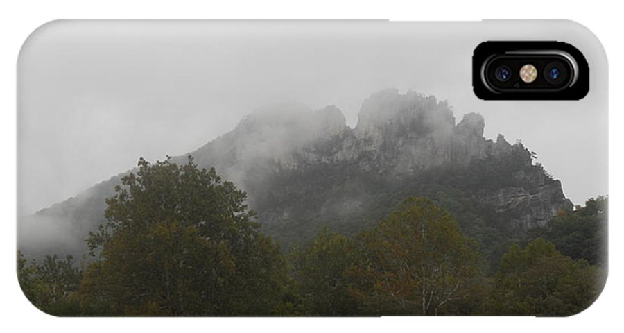 Rock Photographs IPhone X Case featuring the photograph Foggy Seneca Rocks by Kristen Mohr