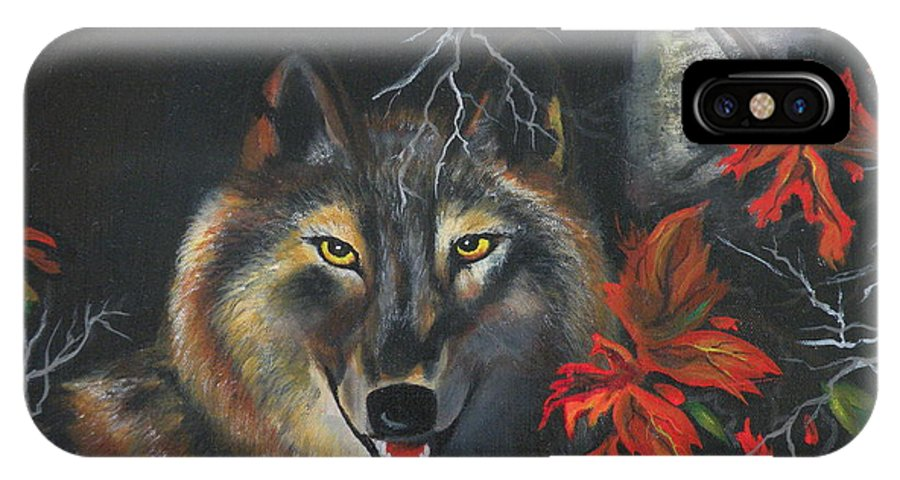 Wolf IPhone X Case featuring the painting Seneca by Lora Duguay