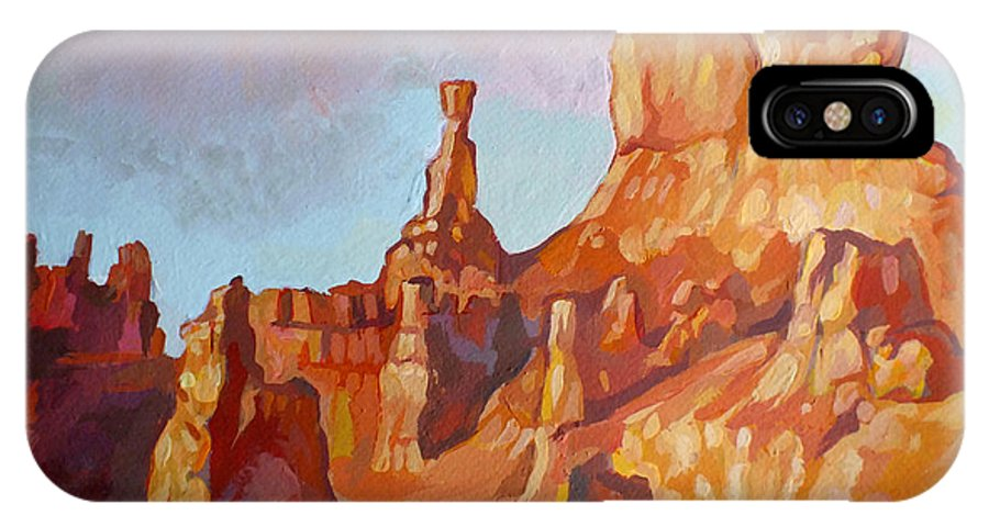 Sentinel IPhone X Case featuring the painting Sentinel - Bryce Canyon by Filip Mihail
