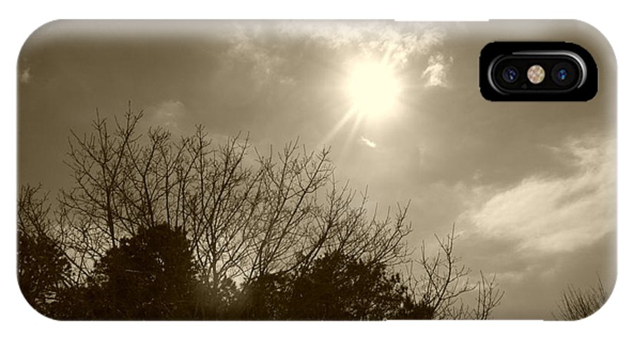 Sun IPhone X / XS Case featuring the photograph Sepia Sun by Maria Manna