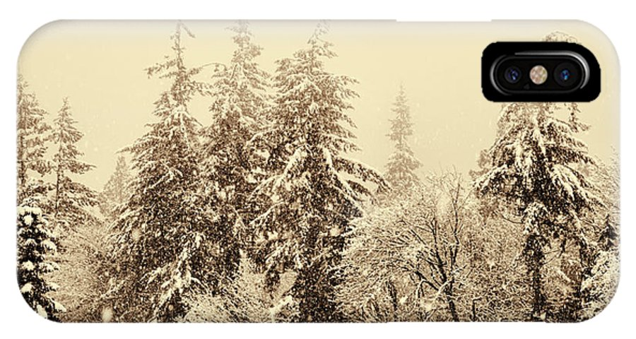 Winter IPhone X Case featuring the photograph Sepia Winter Landscape by Peggy Collins