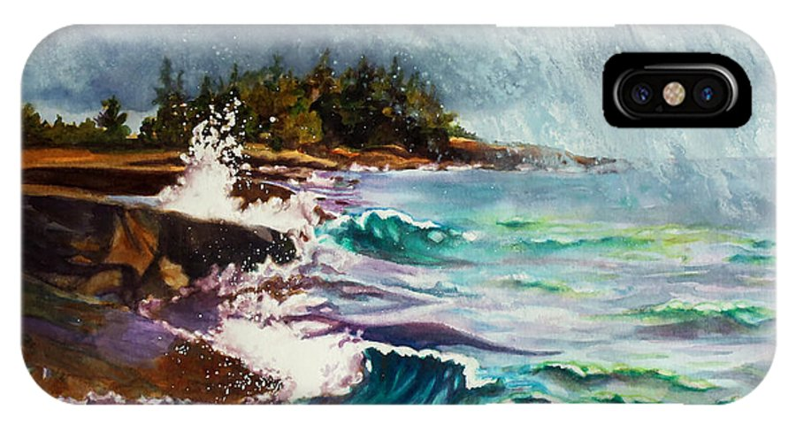 Paintings IPhone X Case featuring the painting September Storm Lake Superior by Kathy Braud