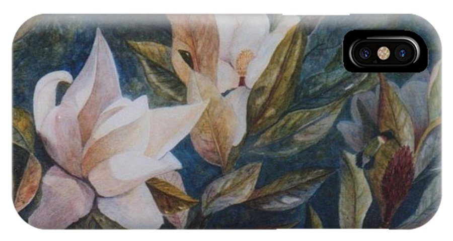 Magnolias; Humming Bird IPhone X Case featuring the painting Serenity by Ben Kiger
