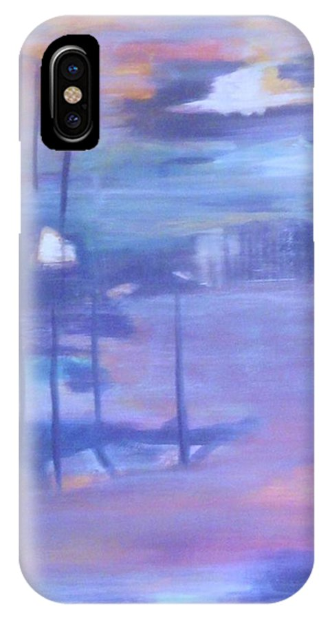 This Landscape IPhone X Case featuring the painting Serenity I by Sheryl Crighton