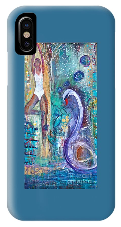 Yoga IPhone X Case featuring the painting Serenity In Seasons by Gail Butters Cohen