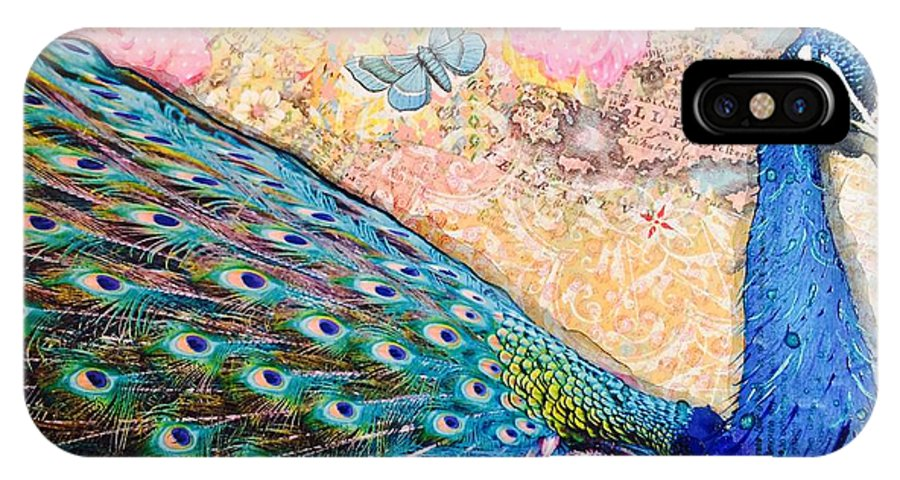 Peacock IPhone X / XS Case featuring the painting Serenity by Kitty Miller