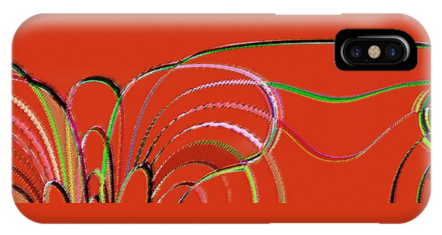 Red Abstract IPhone X Case featuring the digital art Serpentine by Ben and Raisa Gertsberg