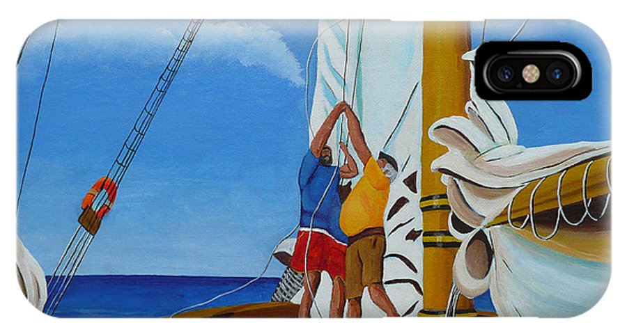 Sail IPhone X Case featuring the painting Setting Sail by Anthony Dunphy