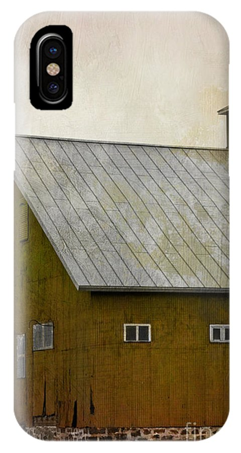 Side; Old; Farm; Barn; Roof; Rural; Outside; Outdoors; Sky; Aged; Clouds; Windows; Large; Red; Building; Architecture IPhone X Case featuring the photograph Settlement by Margie Hurwich
