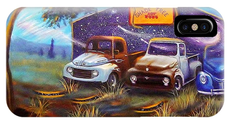 Pick Up Trucks IPhone X Case featuring the painting Shade Tree Hot Rods by Sherry Strong