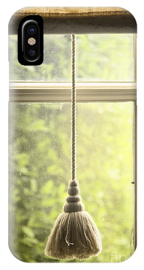 Window; Tassel; Blind; Drape; Curtain; Close; Closed; Fringe; Fabric; Glass; Pane; House; Home; View; See Through; Country; Detail; Trees; Green; Looking Out; Indoors; Inside; Close Up; Shade; Blind IPhone X Case featuring the photograph Shaded by Margie Hurwich