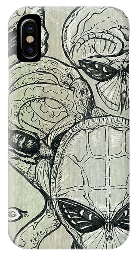 Surreal IPhone X Case featuring the mixed media Shades Of Grays Three by John Ashton Golden