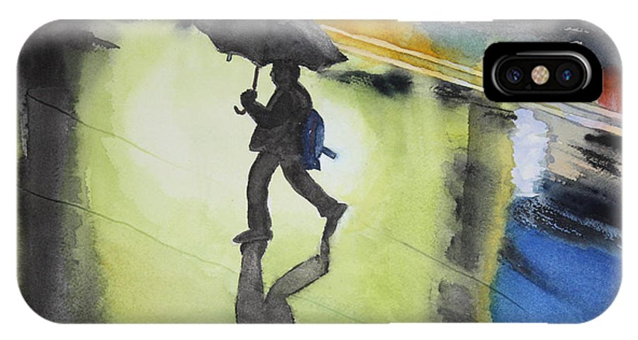 Rain IPhone X Case featuring the painting Shadows In The Rain by Patricia Novack
