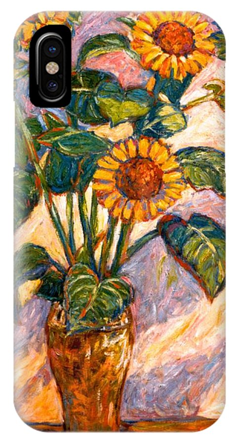 Floral IPhone X Case featuring the painting Shadows On Sunflowers by Kendall Kessler