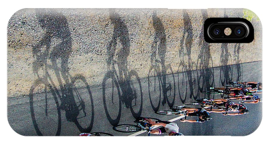 Cycling IPhone X / XS Case featuring the photograph Shadows by Tony Lathrop
