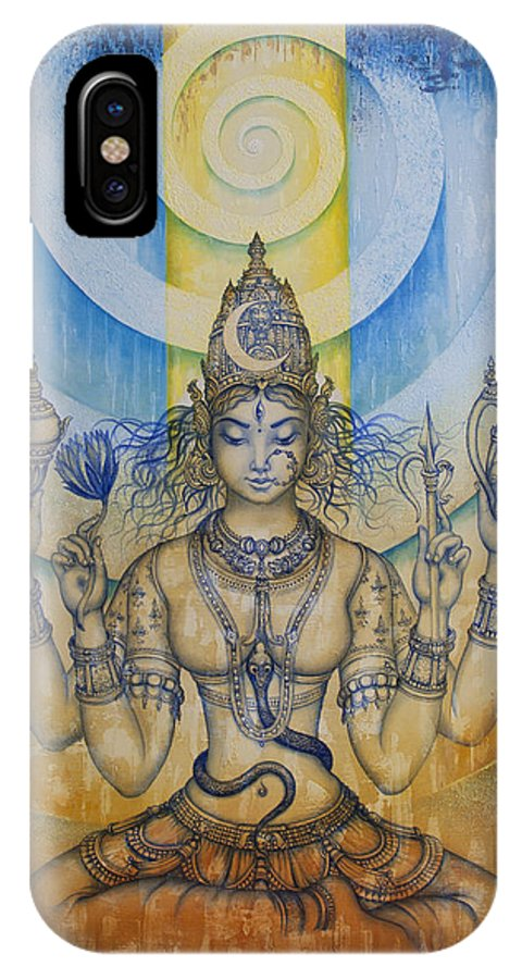 Tripura Sundari IPhone X Case featuring the painting Shakti - Tripura Sundari by Vrindavan Das