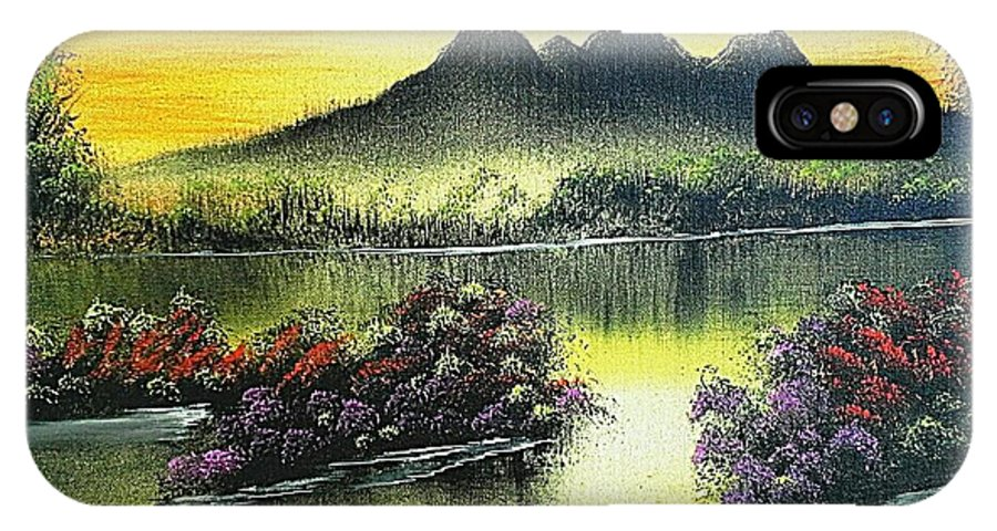 Landscape. Oil. Colours. Mountains. Flowers IPhone X / XS Case featuring the painting 'shangri-la'... by Steven Stewart