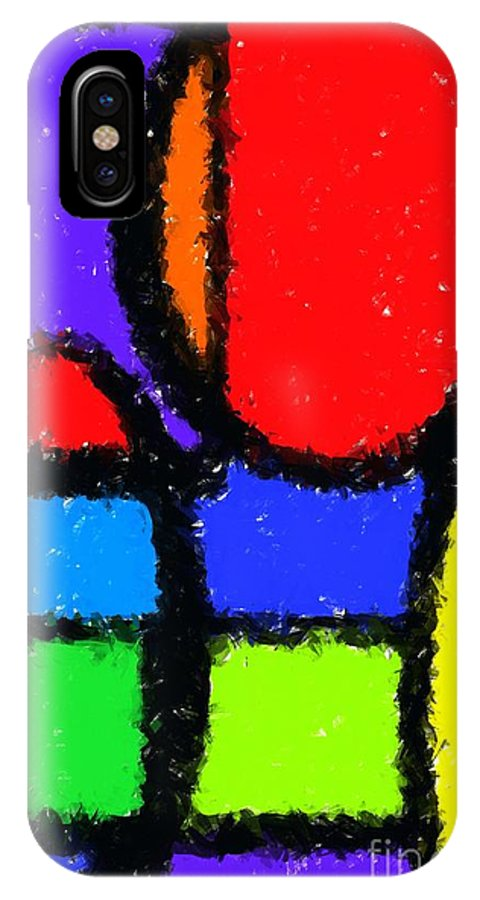 Abstract IPhone X Case featuring the digital art Shapes 4 by Chris Butler