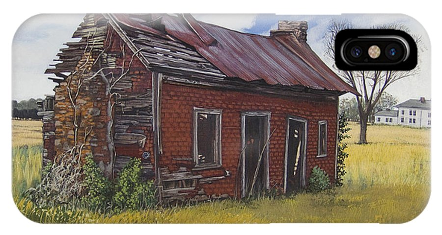 Landscape IPhone Case featuring the painting Sharecroppers Shack by Peter Muzyka