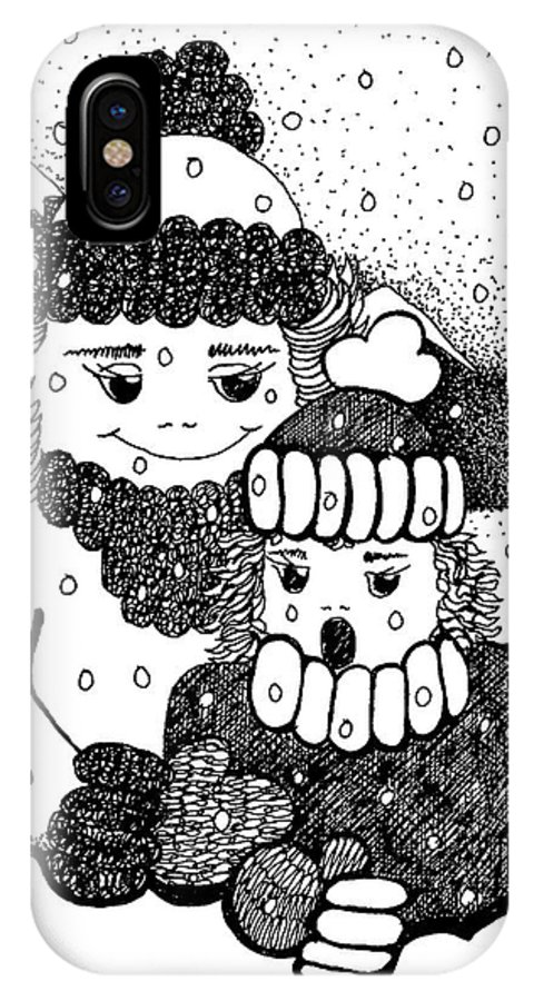 Moment IPhone X Case featuring the drawing Sharing The Moment by Joy Bradley