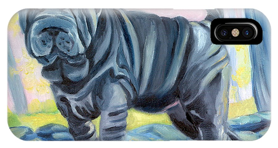 Sharpei IPhone X Case featuring the painting Sharpei ... A Blue Day by Lyn Cook