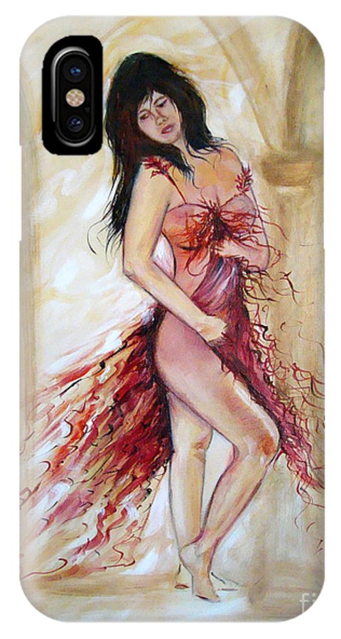 Contemporary Art IPhone X / XS Case featuring the painting She by Silvana Abel
