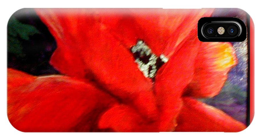 Floral IPhone X Case featuring the painting She Wore Red Ruffles by Gail Kirtz