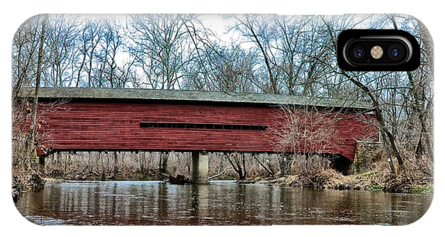 Sheeder IPhone X Case featuring the photograph Sheeder - Hall - Covered Bridge Chester County Pa by Bill Cannon