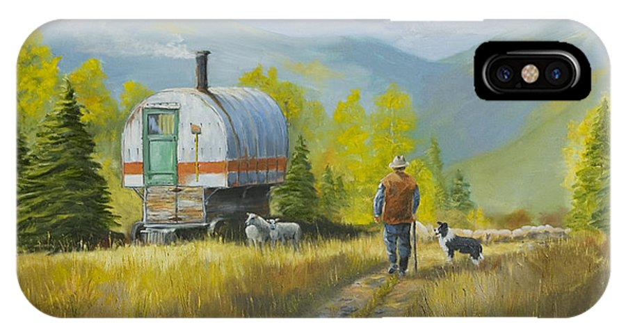 Sheep IPhone X Case featuring the painting Sheep Camp by Jerry McElroy