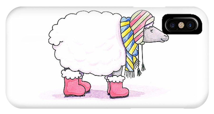 Sheep IPhone X Case featuring the painting Sheep In A Scarf by Christy Beckwith