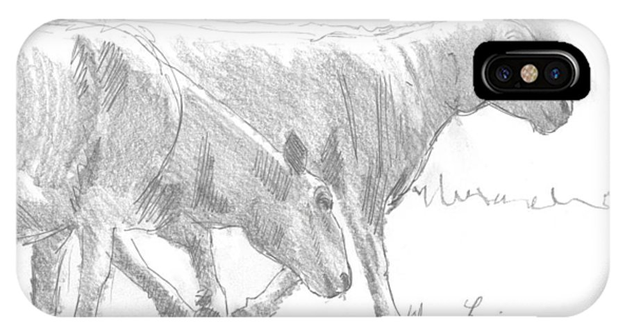 Sheep IPhone X Case featuring the drawing Sheep Walking by Mike Jory