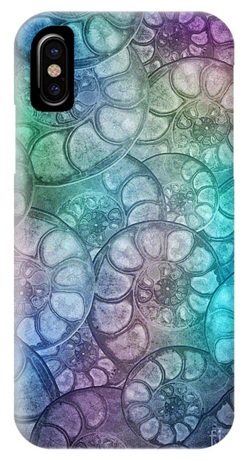 Seashells IPhone X Case featuring the digital art Shell Fossils by Klara Acel