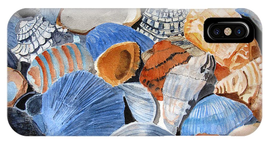 Shell IPhone X / XS Case featuring the painting Shells On The Beach by Sandy McIntire