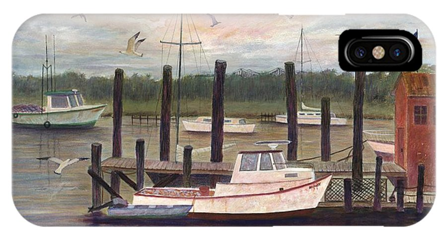 Charleston; Boats; Fishing Dock; Water IPhone X Case featuring the painting Shem Creek by Ben Kiger