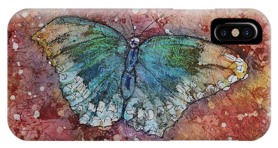 Butterfly IPhone X Case featuring the painting Shimmer Wings by Ruth Kamenev