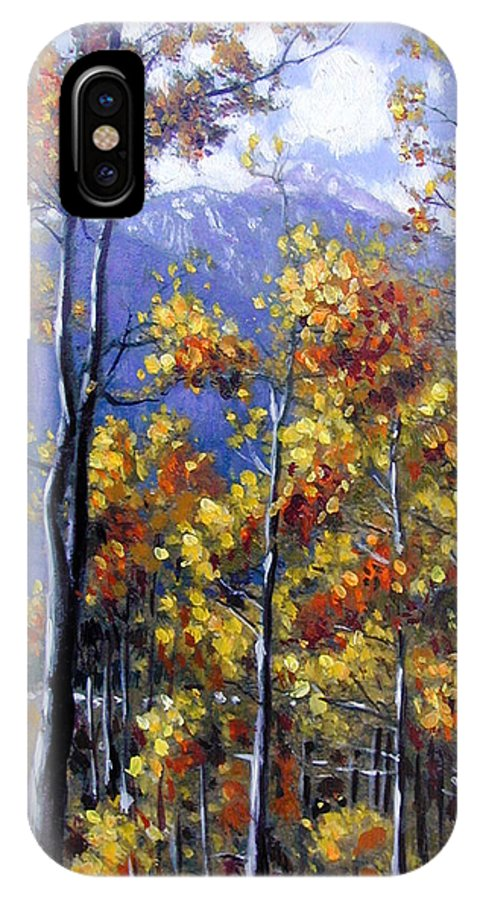 Aspens IPhone X Case featuring the painting Shimmering Aspens by John Lautermilch