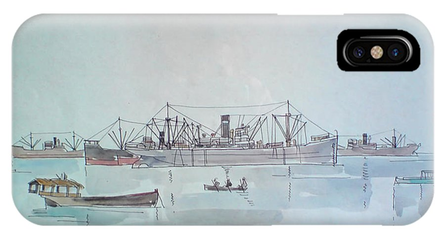 Ships IPhone X Case featuring the painting Ships by Mountain Dreams
