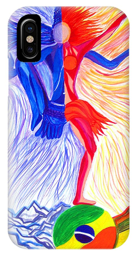 Cityscape IPhone X Case featuring the painting Shiva And Samba On Indo Brazil Cosmic Dance by Seshadri Sreenivasan