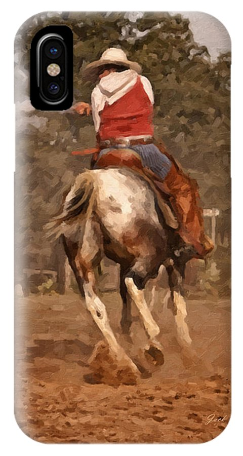 Western IPhone X Case featuring the digital art Shooter by Jack Milchanowski