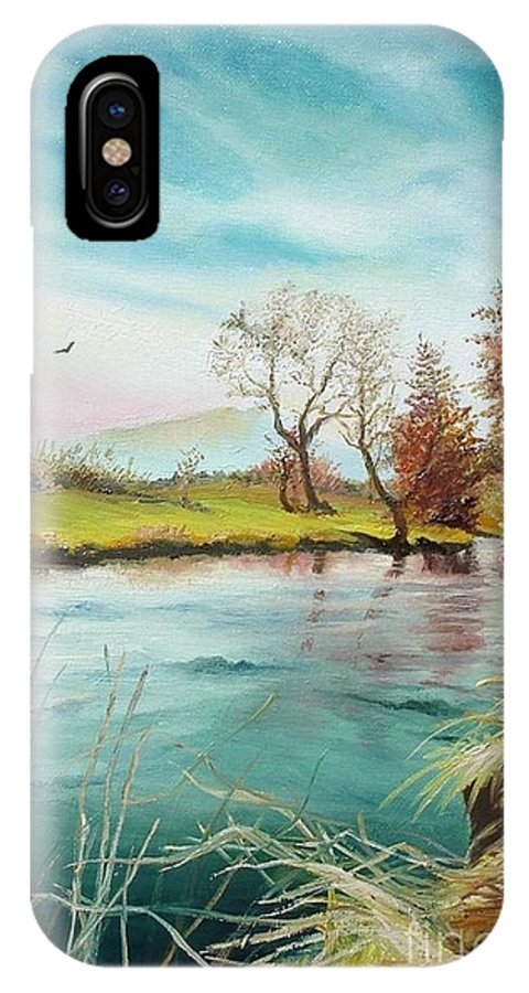 River IPhone X Case featuring the painting Shore Of The River by Sorin Apostolescu