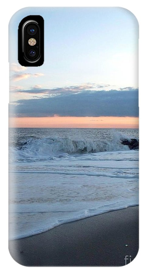 Shoreline IPhone X Case featuring the photograph Shoreline And Waves At Cape May by Eric Schiabor