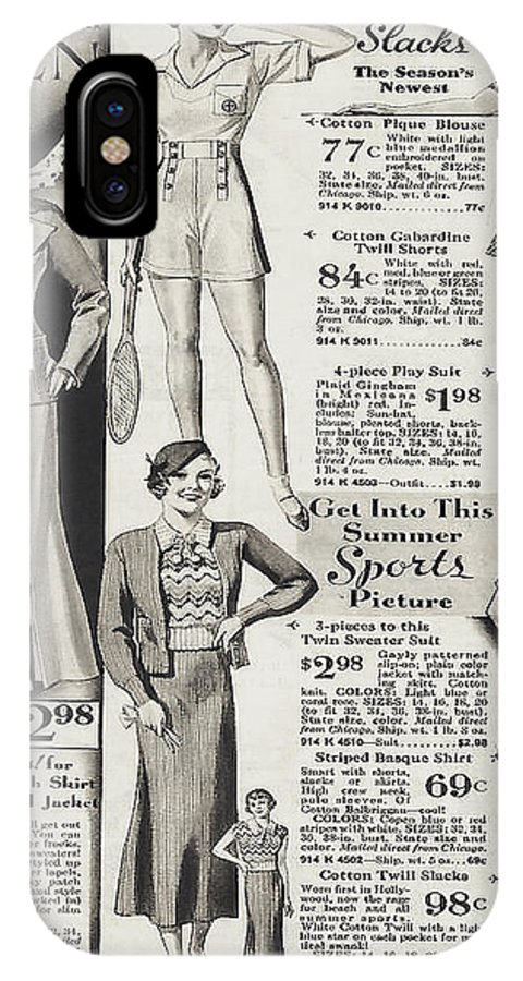 Montgomery Ward IPhone X Case featuring the photograph Shorts And Slacks 1934 77 Cents by Merton Allen