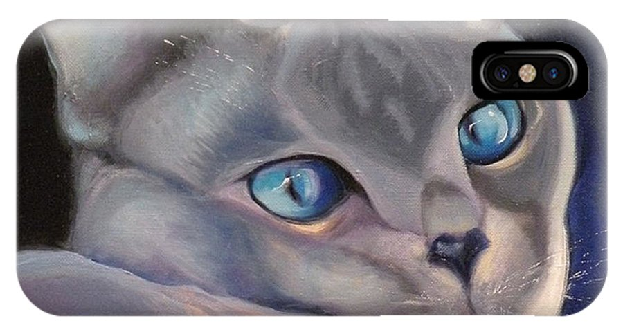 Cat Siamese Greeting Card IPhone X Case featuring the painting Siamese In Blue by Susan A Becker