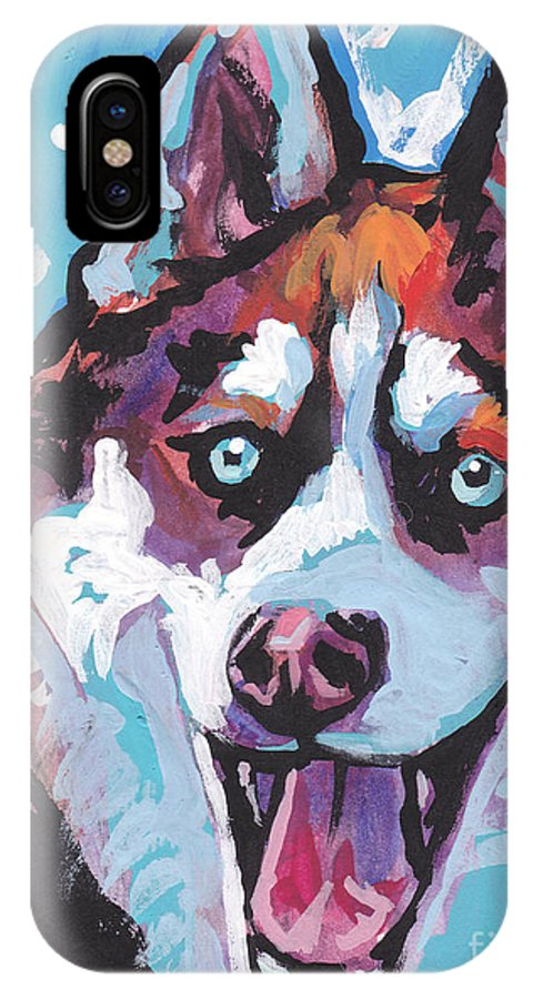 Siberian Husky IPhone X Case featuring the painting Sibe By Sibe by Lea S