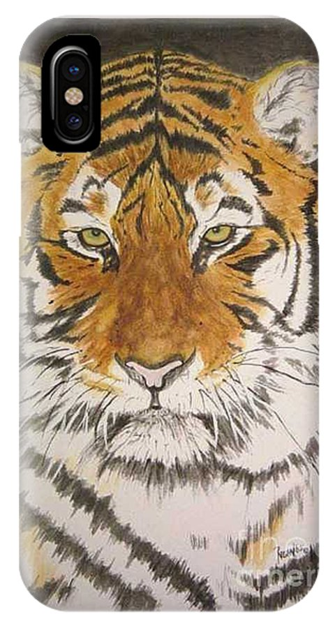 Siberian Tiger IPhone X Case featuring the painting Siberian Tiger by Regan J Smith