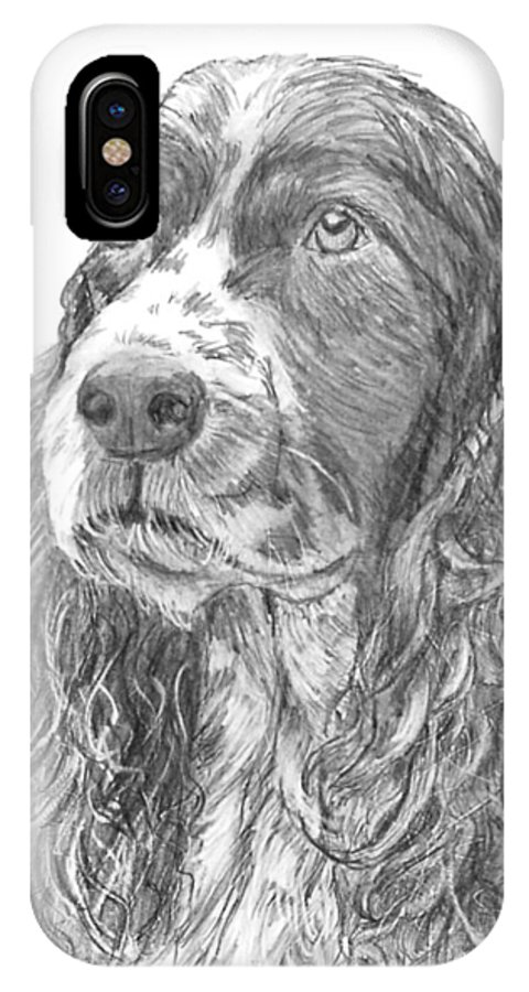 Dog IPhone X / XS Case featuring the drawing Sibley by Quwatha Valentine