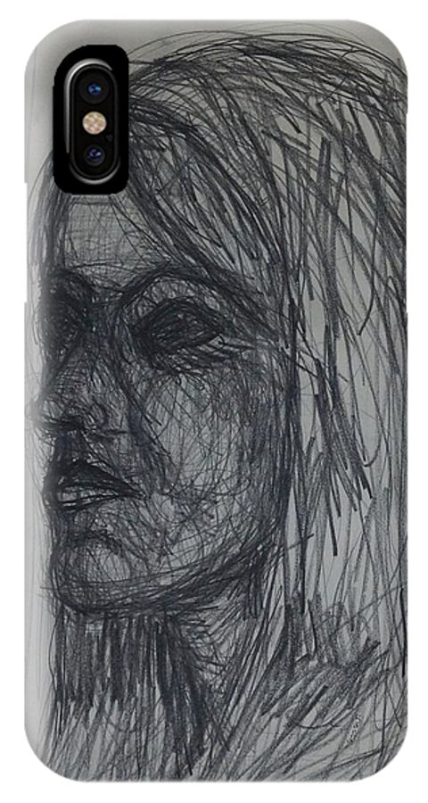 Portrait IPhone X Case featuring the drawing Side View by Erika Chamberlin
